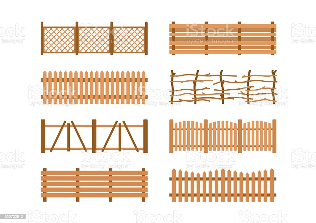 Set Wooden different garden fences. Rural fencing wood boards construction vector art illustration