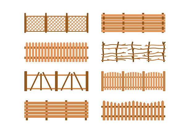 stockillustraties, clipart, cartoons en iconen met set wooden different garden fences. rural fencing wood boards construction - fence