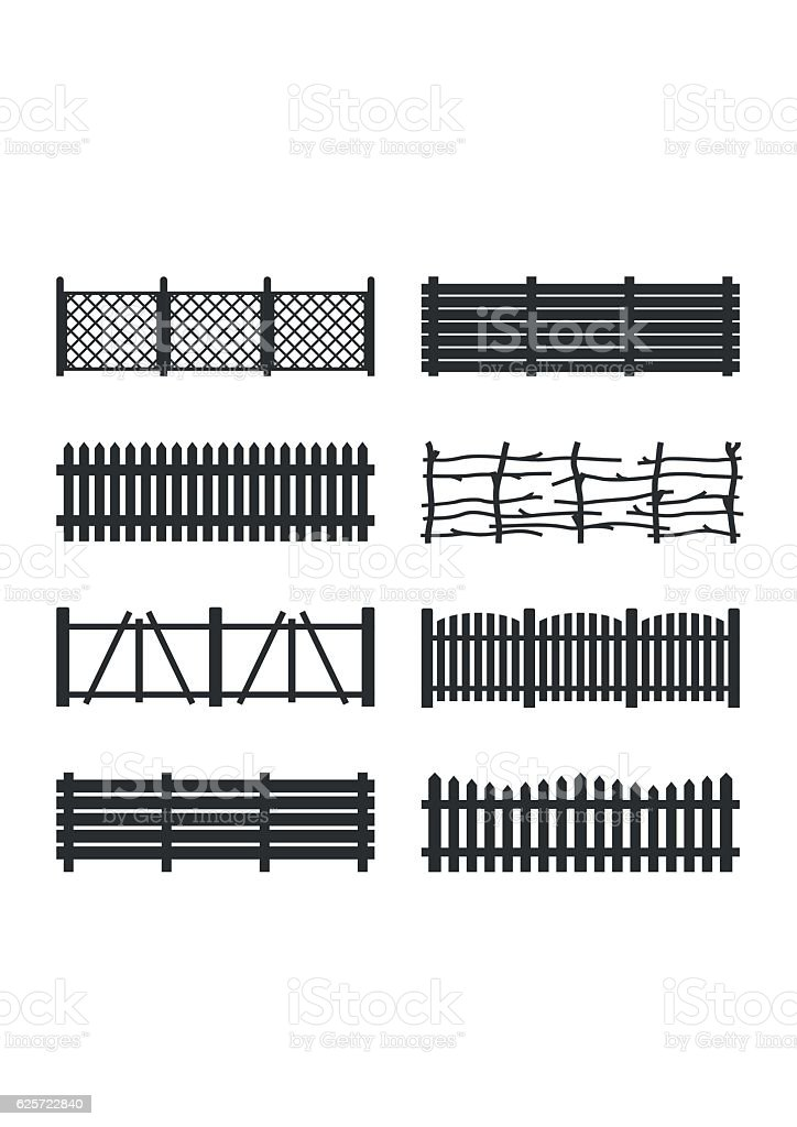 Set Wooden different garden fences. Rural fencing wood boards construction vector art illustration