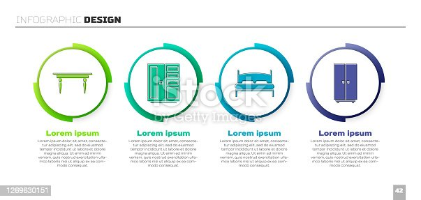 Set Wooden table, Wardrobe, Big bed and Wardrobe. Business infographic template. Vector