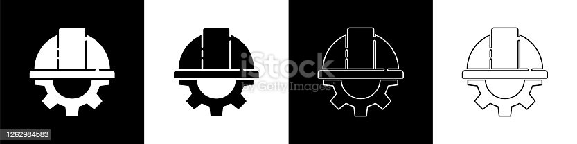 istock Set Worker safety helmet and gear icon isolated on black and white background. Vector Illustration 1262984583