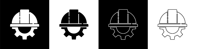 Set Worker safety helmet and gear icon isolated on black and white background. Vector Illustration
