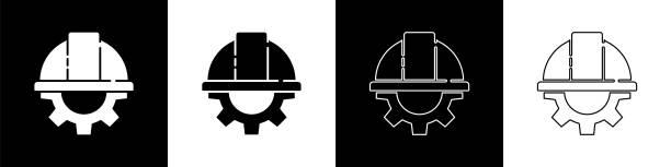 흑백 배경에 격리된 작업자 안전 헬멧과 기어 아이콘을 설정합니다. 벡터 일러스트레이션 - 모자 모자류 stock illustrations