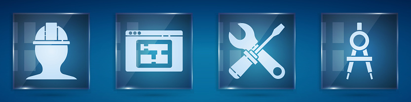 Set Worker safety helmet, House plan, Screwdriver and wrench spanner and Drawing compass. Square glass panels. Vector