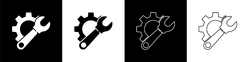 Set Wrench spanner and gear icon isolated on black and white background. Adjusting, service, setting, maintenance, repair, fixing. Vector Illustration