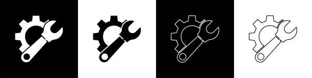 ilustrações de stock, clip art, desenhos animados e ícones de set wrench spanner and gear icon isolated on black and white background. adjusting, service, setting, maintenance, repair, fixing. vector illustration - ucrânia