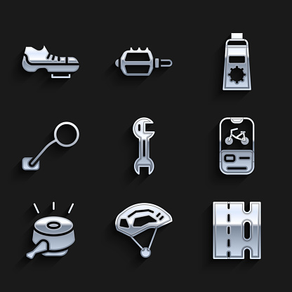 Set Wrench spanner, Bicycle helmet, lane, rental mobile app, bell, rear view mirror, Sunscreen cream in tube and shoes icon. Vector
