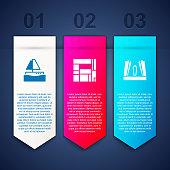 Set Yacht sailboat, House Edificio Mirador and Gate of Europe. Business infographic template. Vector