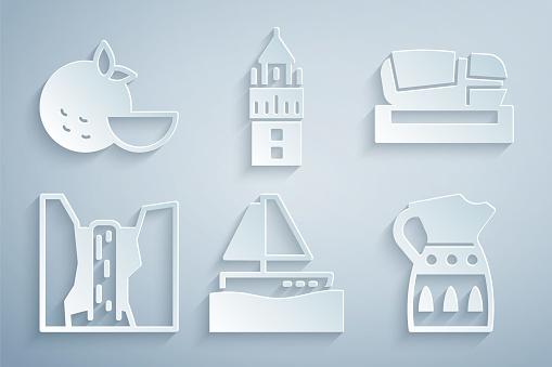 Set Yacht sailboat, Stadium Mestalla, Algar waterfall, Sangria pitcher, Giralda and Orange fruit icon. Vector