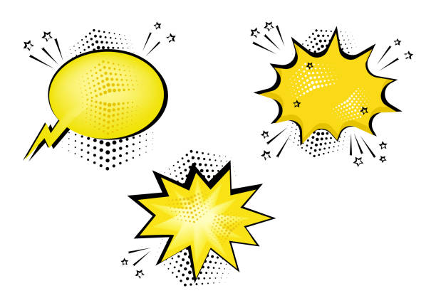set yellow comic bubbles for your text. comic sound effects in pop art style. sound bubble speech with word and comic cartoon expression sounds illustration. vector illustration. - sound effects stock illustrations, clip art, cartoons, & icons