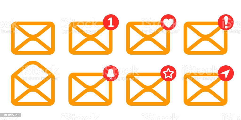 Set yellow letters icon with new, like, send and ather messages -...