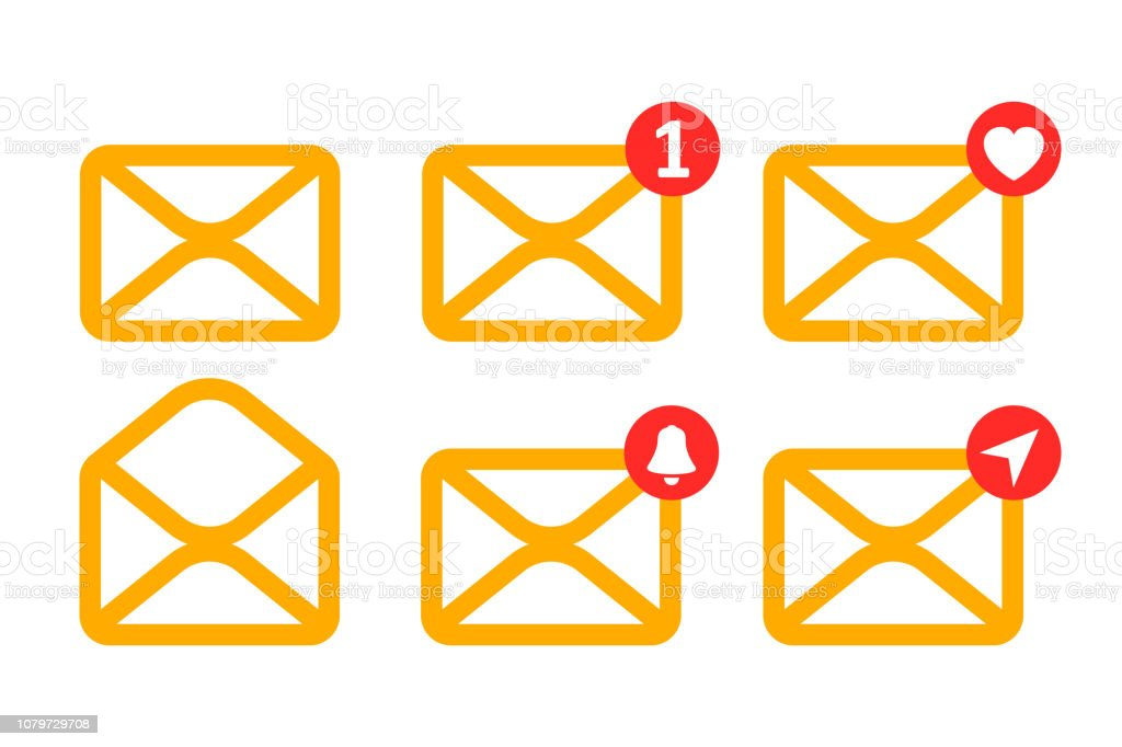 Set yellow letters icon with new, like, send messages - stock vector