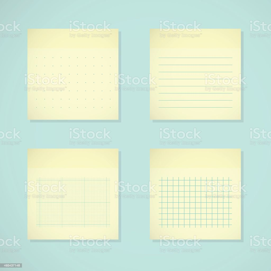 Set: yellow sticky notes. Ruled, dotted, millimeter and squared papers vector art illustration