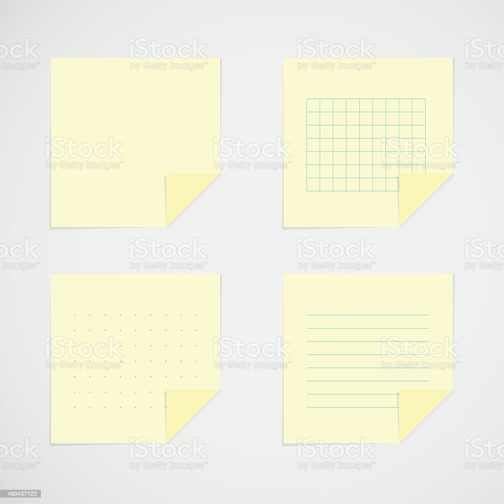 Set: yellow sticky notes vector art illustration