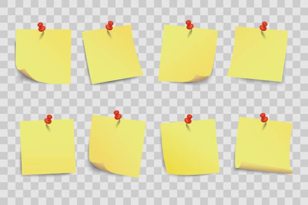 set gelbe klebrige papiere auf transparentem hintergrund - vektor - post it stock-grafiken, -clipart, -cartoons und -symbole