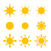 collection of sun and ray shapes illustration