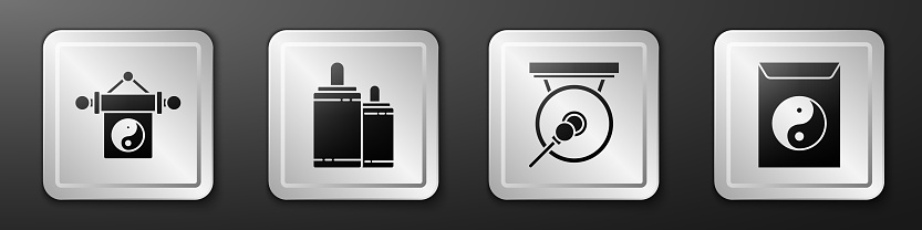 Set Yin Yang, Firework, Gong and Yin Yang and envelope icon. Silver square button. Vector