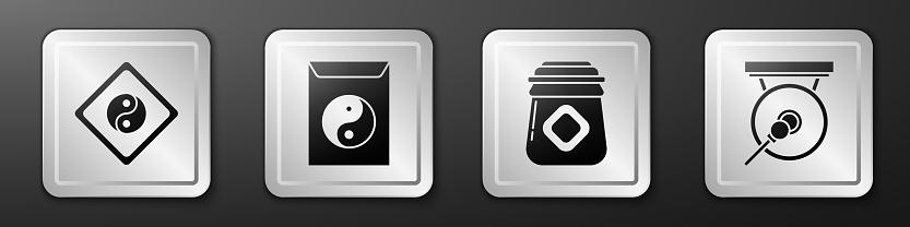 Set Yin Yang, Yin Yang and envelope, Jar of honey and Gong icon. Silver square button. Vector