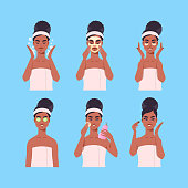 set young woman applying face mask dressed in towel african american girl cleaning and care her face skincare spa makeup facial treatment concept portrait vector illustration
