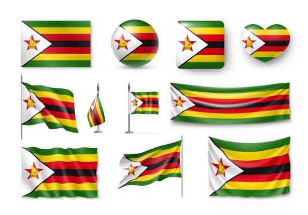 eingestellt von simbabwe fahnen, banner, fahnen, symbole, realistische symbol - salisbury stock-grafiken, -clipart, -cartoons und -symbole