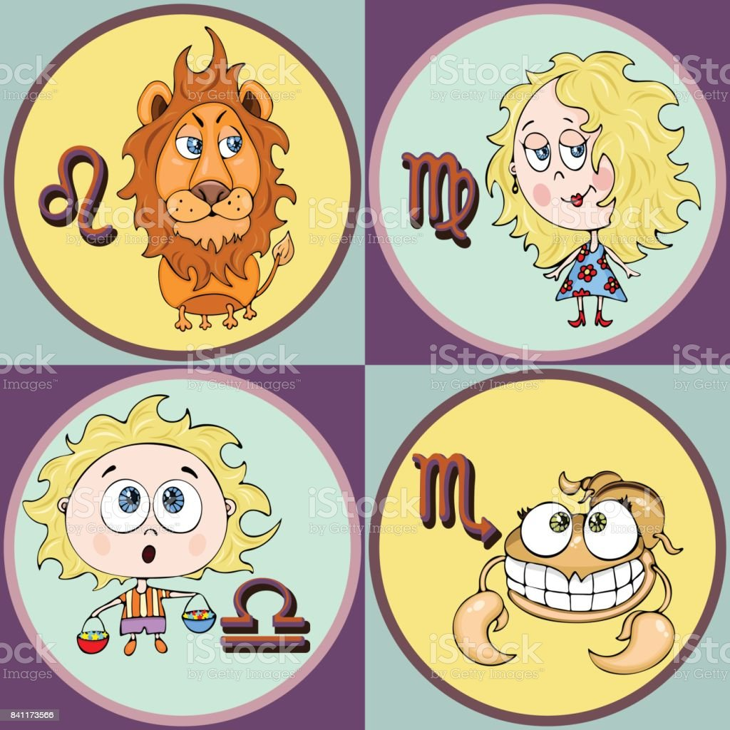 Set zodiac sign cartoon leo virgo libra scorpio painted funny set zodiac sign cartoon leo virgo libra scorpio painted funny astrological buycottarizona