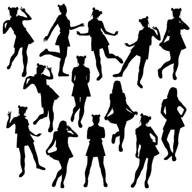 stockillustraties, clipart, cartoons en iconen met set_girls - schooluniform