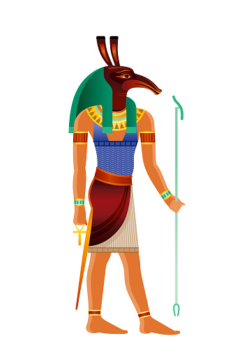 Seth Egyptian god. Set, ancient Egyptian god of chaos, fire, desert, trickery, storm, envy, disorder, violence, foreigner with aardvark head. 3d realistic vector illustration isolated white background