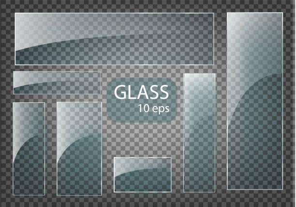 bildbanksillustrationer, clip art samt tecknat material och ikoner med seth empty genomskinligt glasplattor. vector mall, banner layout med kopia utrymme. foto realistisk textur med bakgrundsbelysning och glöd på transparent. - spegling