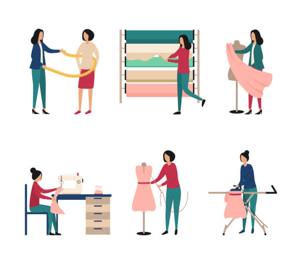 illustrazioni stock, clip art, cartoni animati e icone di tendenza di seth fashion atelier. work of a seamstress, designer, choice of fabric, sewing machine, ironing, customer measurement in a clothing workshop. flat vector illustration isolated on white background. - tailor working