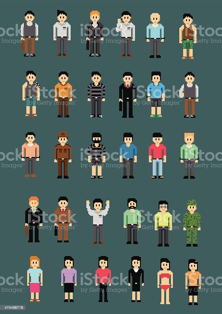 Set-of-Characters-Pixel vector art illustration