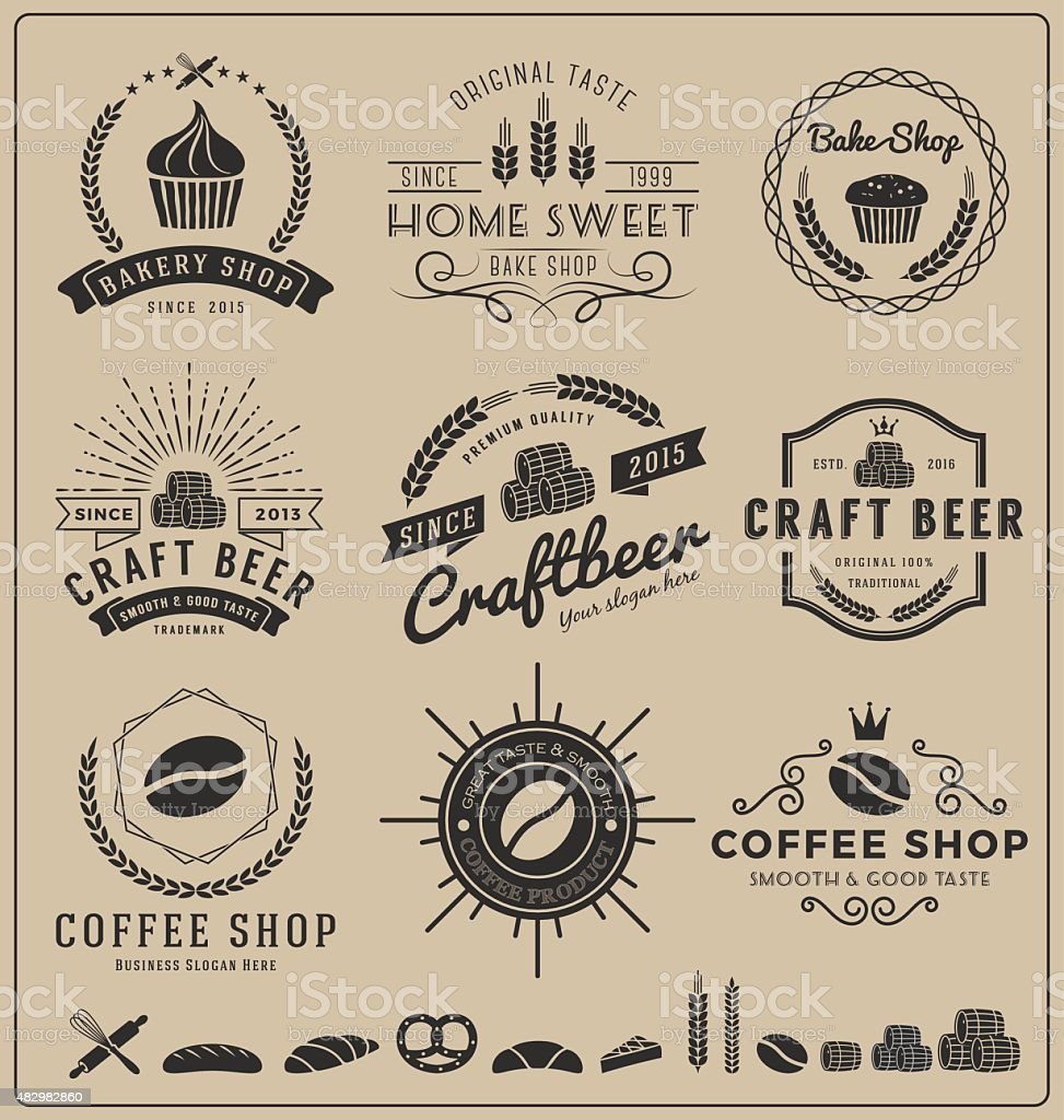 Sets of bake shop, craft beer, coffee shop insignia vector art illustration