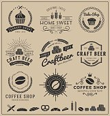 Sets of bake shop, craft beer, coffee shop insignia