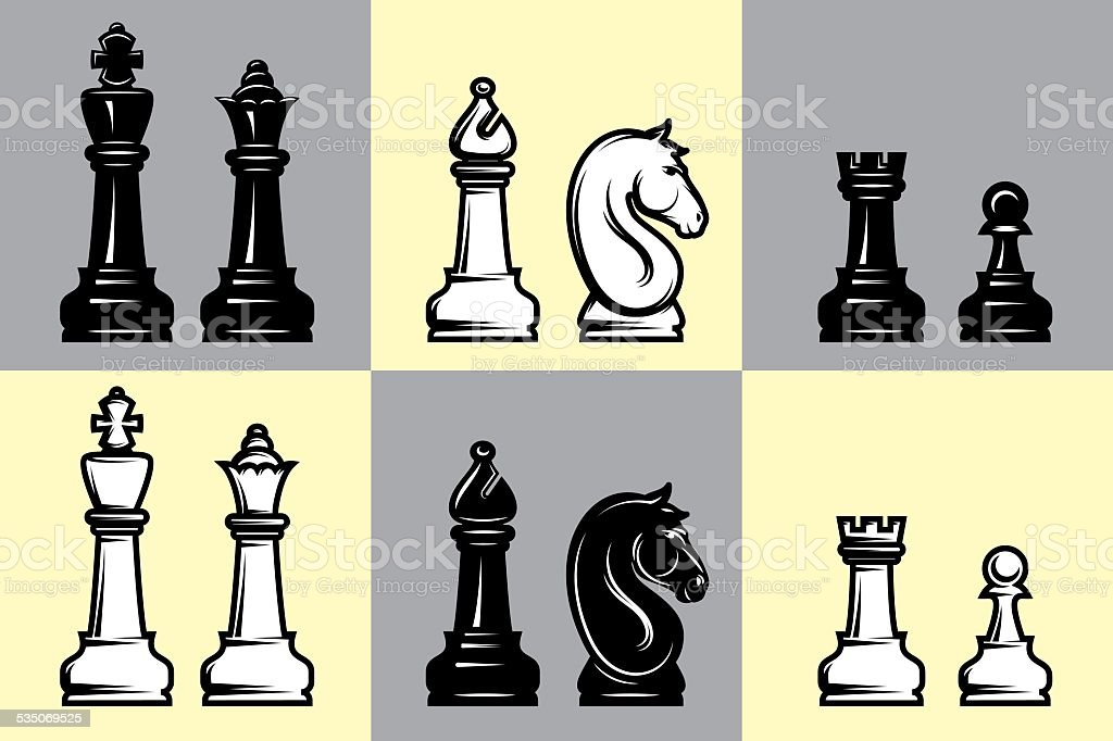 sets of black and white chess with chessboard vector art illustration