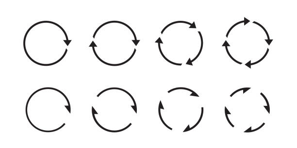 Sets of black circle arrows. Vector Icons. Graphic for website. Sets of black circle arrows. Vector Icons. Graphic for website. circle stock illustrations