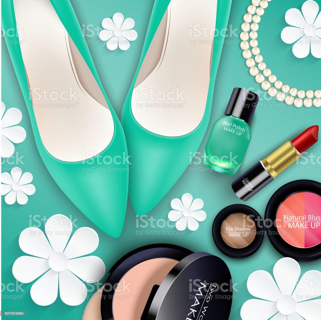 Paar Kosmetik Auf Grünem Hintergrund Vektor Illustration 507024094 ...