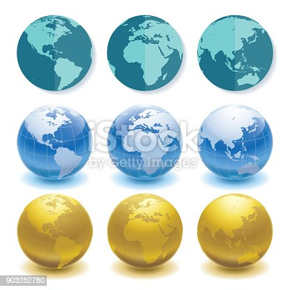 3 sets of globes in different styles and angles
