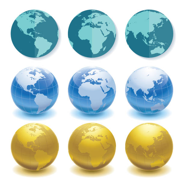 3 sets of globes in different styles and angles vector art illustration
