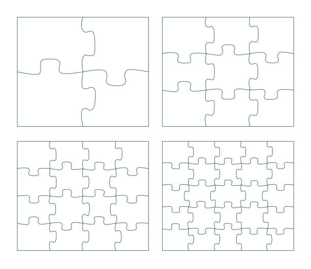 パズルピースベクトルイラストのセット。2×2、3×3、4×4。5×5ジグソーパズルゲームアウトラインピース画像 - パズル点のイラスト素材/クリップアート素材/マンガ素材/アイコン素材