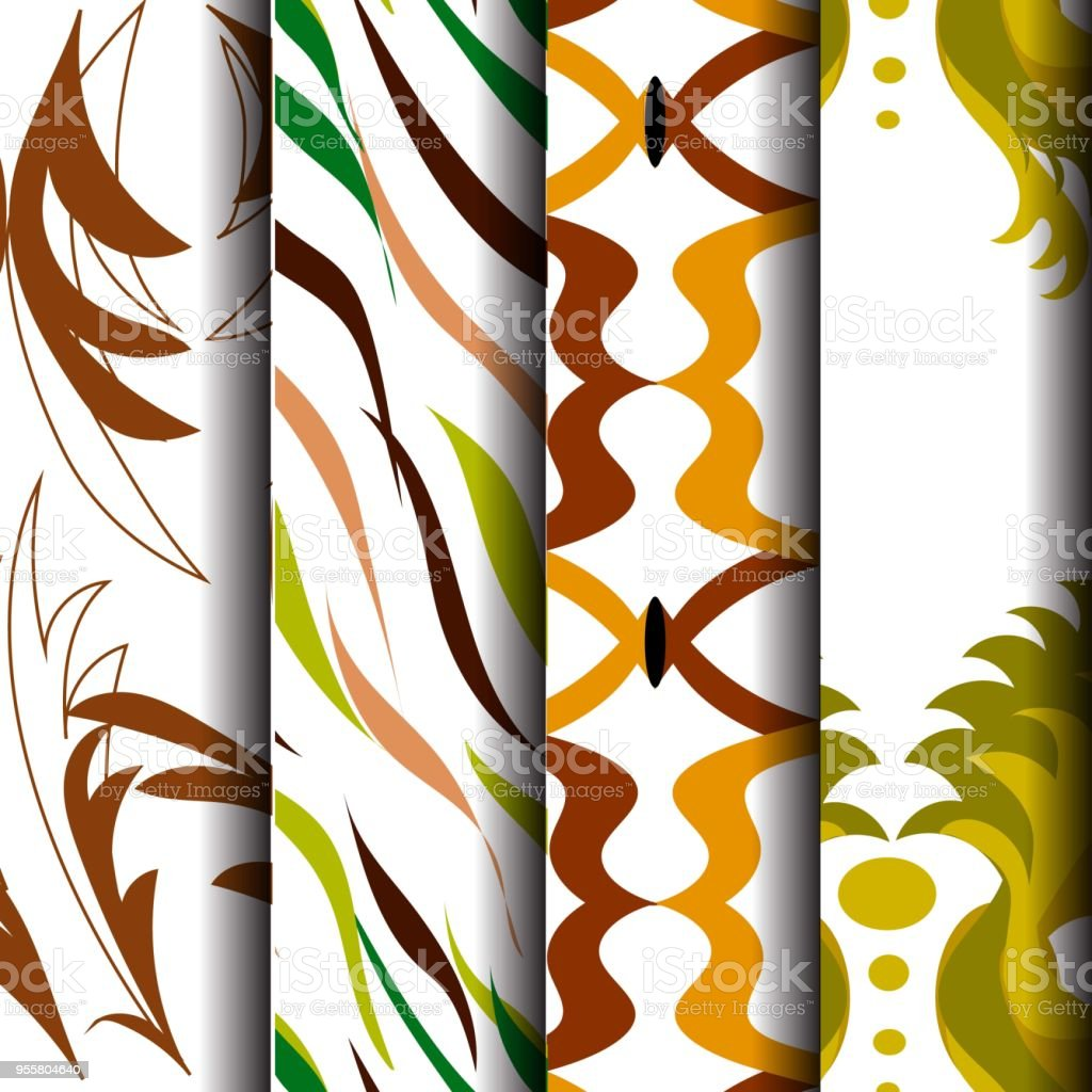 4 sets of waveform patterns, green, yellow and brown vector art illustration