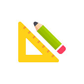 Setsquare and Pencil Flat Icon. Pixel Perfect. For Mobile and Web.