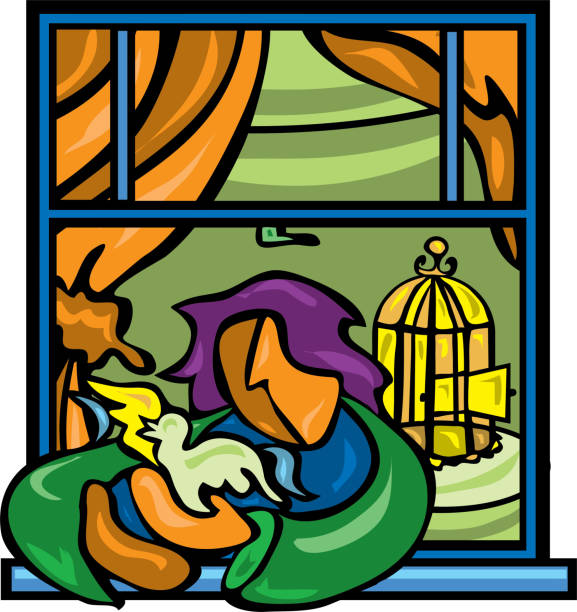 Setting a bird free from its cage out window vector art illustration