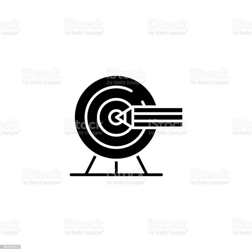 設置目標黑色圖示概念。設置目標平面向量符號, 符號, 插圖。 - 免版稅一組物體圖庫向量圖形