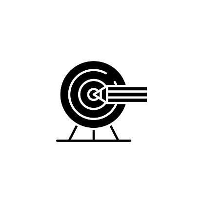 設置目標黑色圖示概念設置目標平面向量符號 符號 插圖向量圖形及更多一組物體圖片