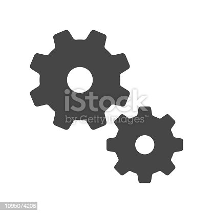 Setting, Gear, Tool, Cog Flat Web Mobile Icon Vector Sign Symbol Button Element Silhouette isolated on white background.