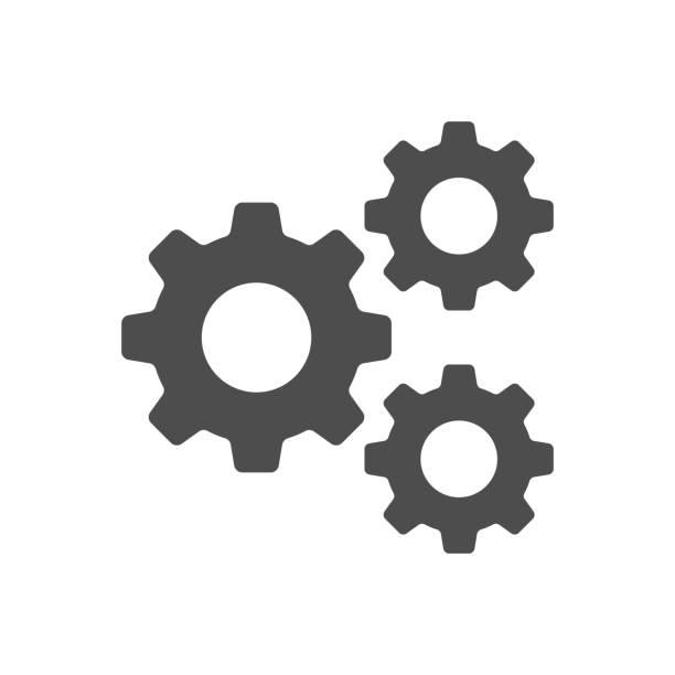 ustawienie, bieg, narzędzie, zębatka izolowane płaskie web mobile icon wektor znak symbol element silhouette - część stock illustrations