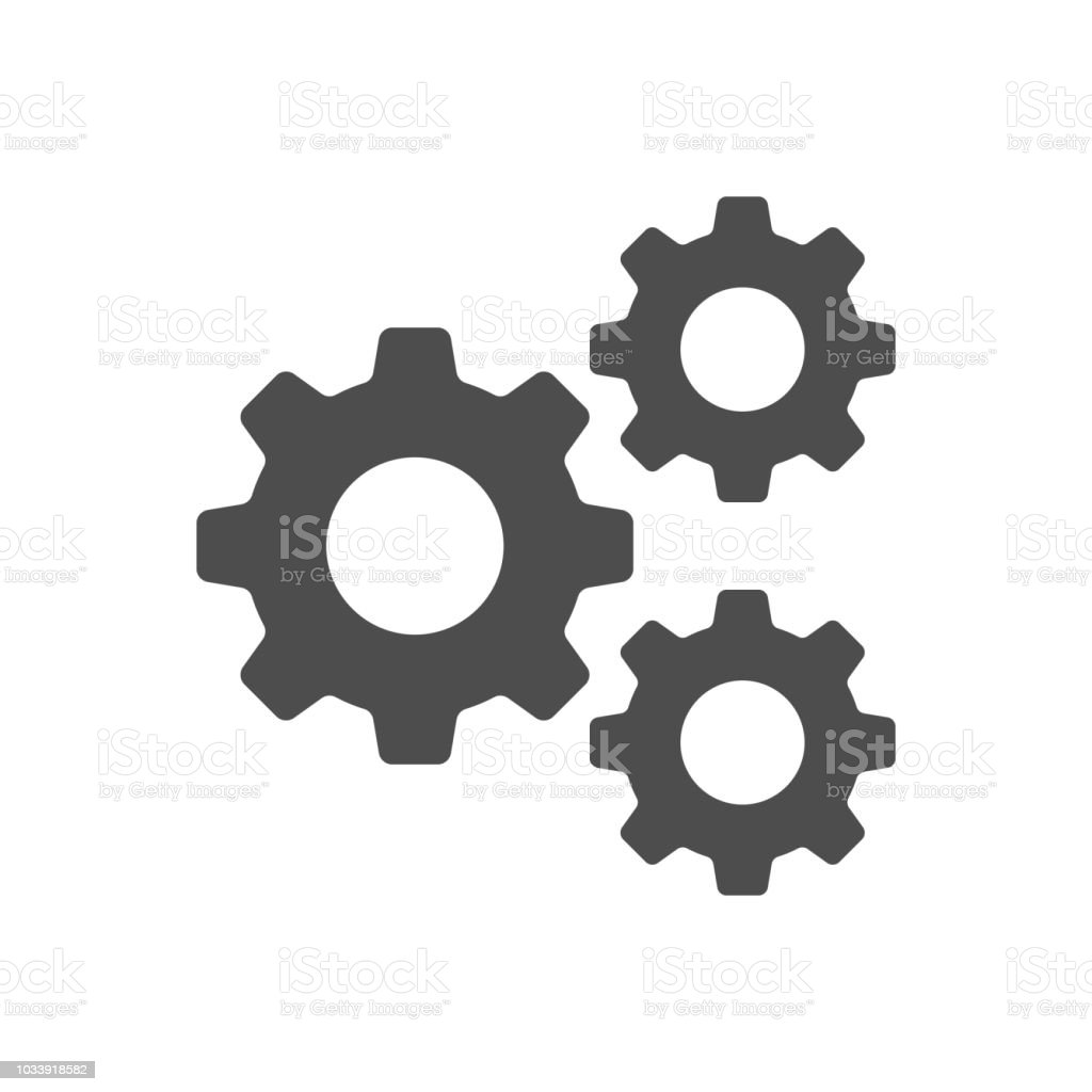 Setting, Gear, Tool, Cog Isolated Flat Web Mobile Icon Vector Sign Symbol Button Element Silhouette vector art illustration