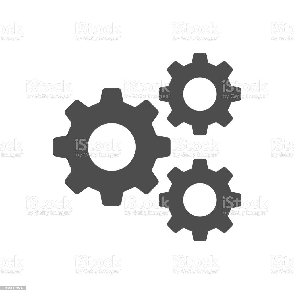 Setting, Gear, Tool, Cog Isolated Flat Web Mobile Icon Vector Sign Symbol Button Element Silhouette - illustrazione arte vettoriale