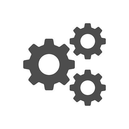Setting Gear Tool Cog Isolated Flat Web Mobile Icon Vector Sign Symbol Button Element Silhouette - Arte vetorial de stock e mais imagens de Arranjar