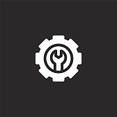 setting icon. Filled setting icon for website design and mobile, app development. setting icon from filled development collection isolated on black background.