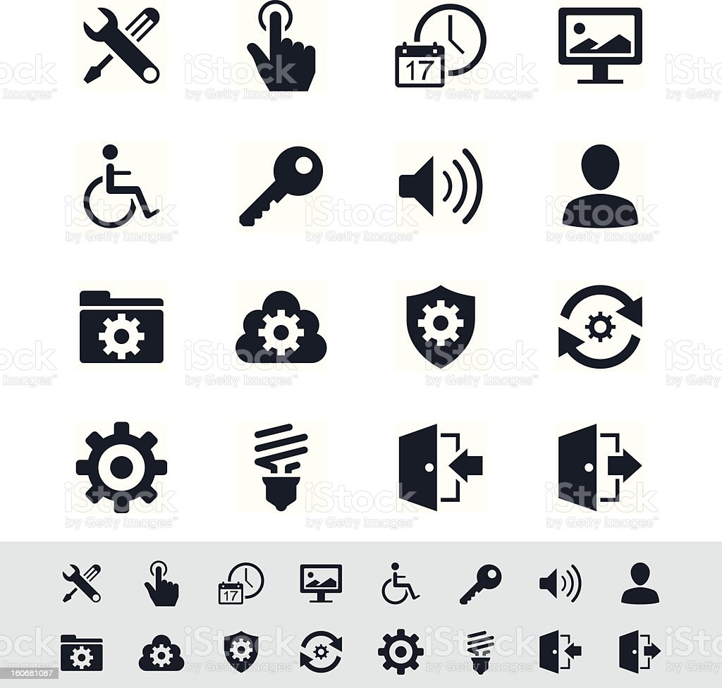 Setting icon set - simplicity theme vector art illustration